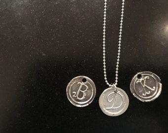 Initial Wax Seal Stamped Charm