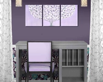 Purple and Gray Wall Art Original Canvas Painting of Lilac Tree on Triptych with Sculpted Flowers - 35X14