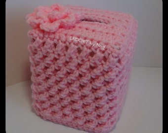 Pink Boutique Tissue Box Cover, Decorative, Cube Tissue box, Crochet Kleenex Box cover, Crochet Tissue Box cover, Gifts for Her, Handmade
