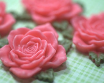 Big Pink Resin Rose Cabochons... 4pcs
