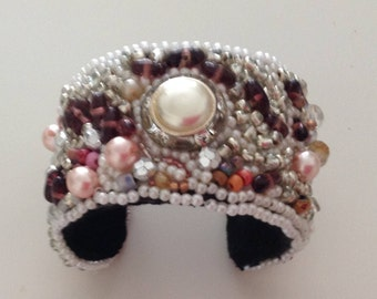 Brown Beaded Cuff Bracelet with Pearls