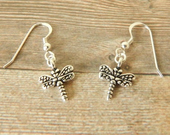 Dragon Fly Earrings, Sterling Silver Dragon Fly Earrings, Silver Earrings, Dragon Fly Drop Earrings, Dangle Earrings