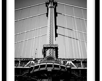 Manhattan Bridge, New York City. Black and White Fine Art Photograph printed on 308gsm Hahnemuhle fine art paper (Unmatted)