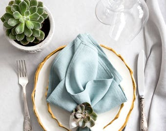 Blue Cloth napkins set made of Natural Linen - Easter napkins - Bunny napkins