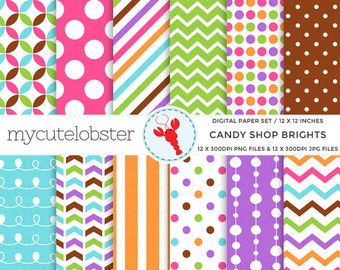 Digital Paper Set - Candy Shop Brights - patterned paper pack, polka, chevron, stripe - personal use, small commercial use, instant download