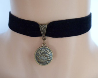 velvet choker, pisces choker, pisces necklace, stretch ribbon, black velvet