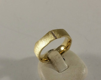 17 mm Ring Silver 925 gilded crystal stones stainless wavy brushed SR255