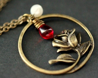 Rose Necklace in Bronze. Charm Necklace with Wire Wrapped Red Teardrop and Fresh Water Pearl. Handmade Necklace.