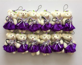 Party Favors ~~Set of 12 Purple Teddy Bear, Baby shower ,Bear measures approximately 4.5 inches~~2 Dollars Each