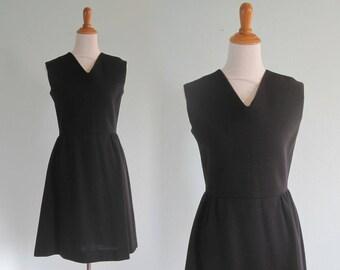 60s Black Dress - Vintage Little Black Dress - Chic 60s Fit and Flare Dress by Bleeker Street - Vintage 1960s Dress M