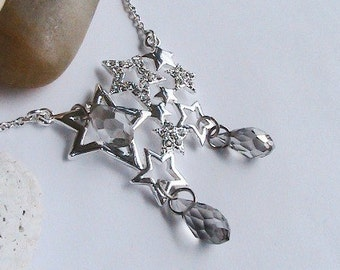 Silver Rain Drops Star Necklace, Silver Star Necklace