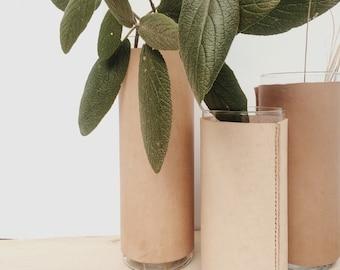 Leather Vase Vessel Large - Natural