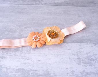 Baby girl 'Flowers' headband, headband girl, headband baby, toddler headband, baby, Tangerine color gift. Hand-made in France.