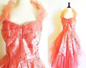 Vintage 50's Tea Length Tulle Party Dress, Coral Gown, Nipped Waist, Sweetheart Neckline, Free shipping
