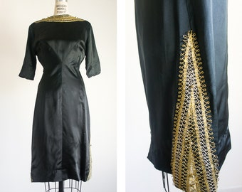 1960s Black Satin Wiggle Dress / Vintage / Small Medium / Spun Into Gold Dress