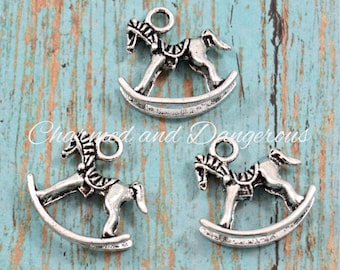 10 pewter 3D Rocking Horse charms (CM97)