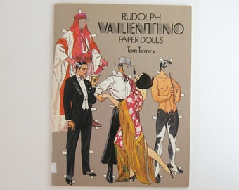 Rudolph Valentino Paper Dolls - Tom Tierney - Vintage Hollywood Actor - Male Sex Symbol - Softcover Book - Illustrated Book - Paper Ephemera