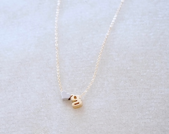 Heart Initial Necklace - Gold Necklace, Initial Necklace, Personalized Necklace, Tiny Letter Necklace, Lowercase Letters, Gold Initial