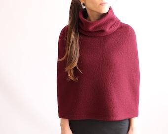 WOOL PONCHO / Womens Bolero Shrug / Women Ponchos / 100% Merino Wool Jacket / Burgundy Poncho Sweater / Wool Cape / Organic Wool Clothing