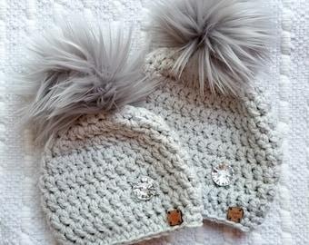 Grey pompom hat, winter warm hat, faux fur pompom hat, fur pompom beanie, hipster beanie hat, fur pom pom hat
