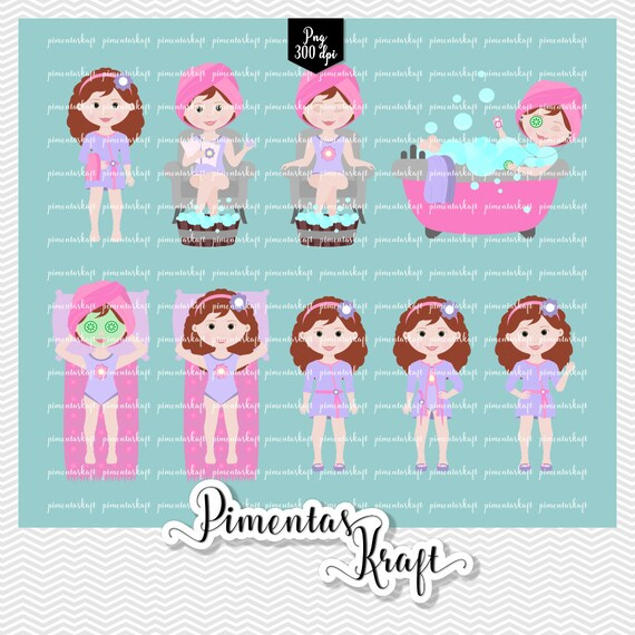 Digital Clipart Spa Day Beautyspa Day Clipartbeauty