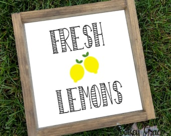 Fresh lemons hand painted framed rustic farmhouse wood sign