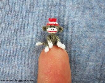 Tiniest Sock Monkey - Micro Amigurumi Crochet Miniature Sock Monkey Stuff Animal -  Made to Order
