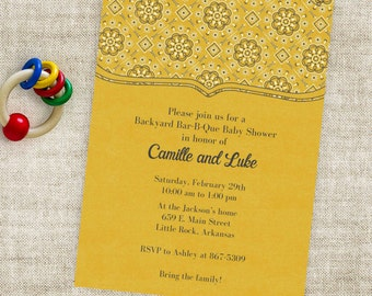 Western Baby Shower Invitation or Country BBQ Party with Bandanna Yellow Printable Custom Invites with Professional Printing Option