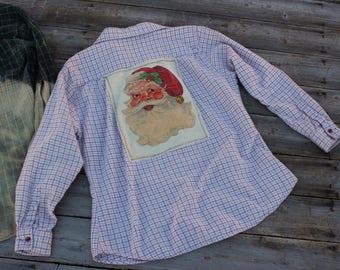 Flannel Shirt with Vintage Santa Claus, Size Medium, Christmas Flannel Shirt, Rustic Shirt, Flannels, Santa Shirt, Santa Flannel FF292