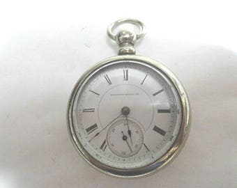 1886 Hamden KW KS Pocket Watch 15 Jewel 56mm 18S Running