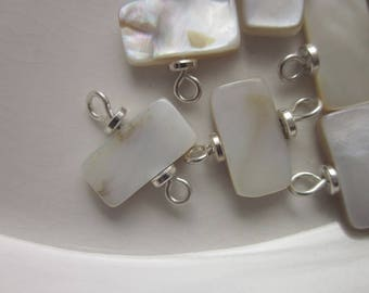 12 Connectors, White Mother of Pearl Rectangles on Sterling Wire, 13mm x 7mm