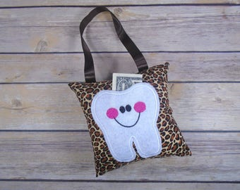 Tooth Fairy Pillow - Tooth Pillow - Kids Pillow - Tooth Keeper - Cheetah Kids Gift - Pink Cheetah - Tooth Fairy Gift - Lost Tooth Gift