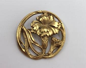 Vintage art nouveau gold brooch, signed Alva, flower brooch, floral, revival, gold tone