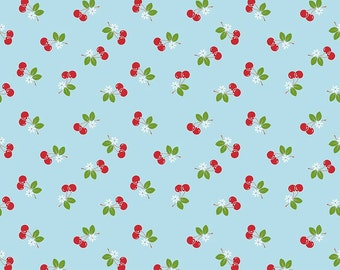 Sale, Blue Cherry Fabric, Sew Cherry 2, Riley Blake, Lori Holt, C5804 Cherry Aqua, Bee in My Bonnet, Red Cherry Quilt Fabric, Cotton Yardage