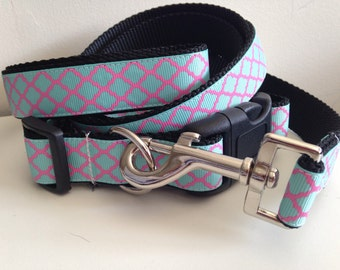 1 inch Turquoise and Pink Quatrefoil Trellis Design Leash and Collar Set