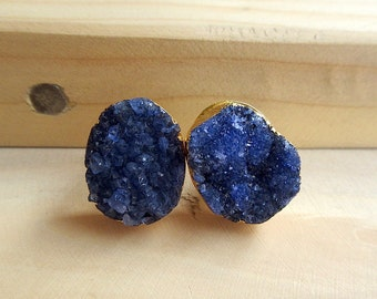 Blue Druzy Studs with Gold Electroplating, Statement Stud Earring, Gemstone Stud Earrings - Fashion Jewelry for Women