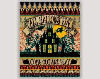 Halloween art, Halloween decor, All Hallows' Eve, spooky Halloween, Halloween fun, Halloween foyer art, Halloween print, Halloween mantel