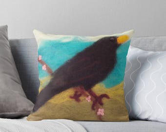 Needle Felted Print Blackbird Cushion, Home Decoration, Hygge, Cosy, Nature Gift, Gifts for her, Birds