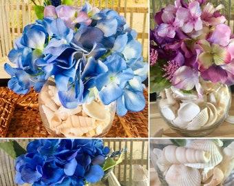 Hydrangeas and Seashells/Floral Arrangement/Clear Glass Vase/Blue/Purple/Coastal Decor/Beach House/Assorted Shells
