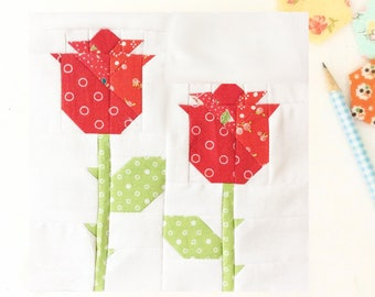 Fresh Roses Quilt Block PDF Instant Download Quilt Pattern 6 inch and 12 inch block instructions