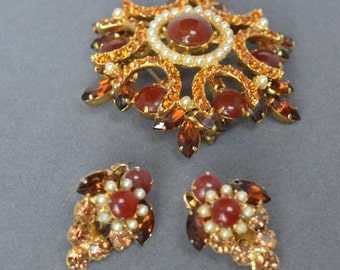 Outstanding Vintage DeLizza and Elster JULIANA Brooch and Earrings