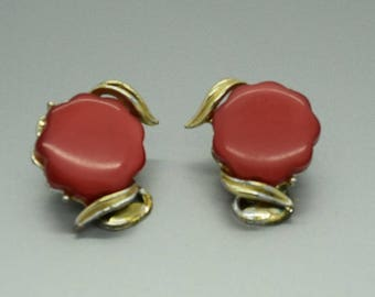 Red Thermoset Clip on Earrings for Repurpose