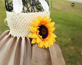 Sunflower and Burlap Tutu Dress (brown and ivory)- Flower girl-VIntage