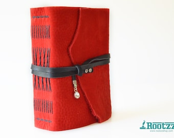 Leather journal little red corvette - journal - travelers notebook - red
