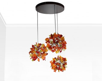 Pendant Lights with warm color flowers and leaves. Hanging pendants ceiling light, flowers lamp for Kitchen Island, Dining Room.