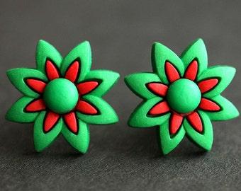 Holiday Flower Earrings. Christmas Earrings. Green and Red Earrings. Bronze Stud Earrings. Holiday Earrings. Handmade Xmas Jewelry.