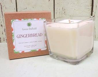 Gingerbread Soy Candle - 12 oz. Glass Cube - Green Daffodil - Hand poured -CG