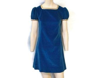 Vintage 1960's Handmade Blue Velvet Mini Gogo Dress Puffy Sleeves and Silver Sequin Trim Minidress Costume Midcentury Shift Dress Size Small