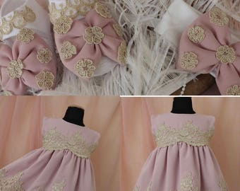 Link dress , pink baby dress, lace baby dress