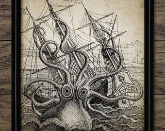 Vintage Kraken Illustration octopus art print octo...
